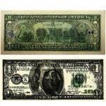 """Preço e título: US$101"", 2011, inkjet print on currency paper (US$100 bill scanned and printed on real US$1 bill). This work is sold of US$101, which is the value of the new created bill. Its price equals to 100+1 and the circulation equals to 100x1. The whole circulation is manually numbered and digitally signed next to the ministers' signatures."