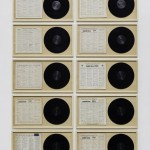 """Oden"" - from the series ""Empty Vinyl"", 2013, 37 x 70 x 3,5 cm each (12 pieces), wood, paper and vinyl"