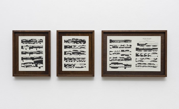 """Study 1"", from the series ""study of debussy"", 2016, 41 x 33,5 x 4 cm (2 parts), E 41 x 57 x 4 cm (1 part), china ink on music Sheet"