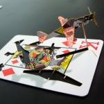 """Ace of Spades"", in 2010, Mold plane on playing card, 4 x 5.5 x 8.5 cm (each)"