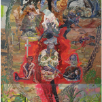 """O ouro-aborto da brancura e a cerca fecal do dono da terra"", 2013, oil on canvas, 300x180 cm"