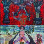 """""""A Durga de 7 braços de Ogum pare a rébis mestiça sob a ameaça do moedor de carne ultramarino do liberal Mahisha"""", 2014, oil on canvas, 360x260 cm"""