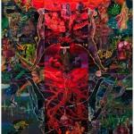 """""""Iroko entre a Concepção e Parto da Rébis Mestiça Aponta o Culto ao Cliché Alegórico como Causa dos Males"""", 2013, oil on canvas, 360x300 cm"""