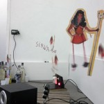 Macumba non site. Installation. Marionette, motor, funk cd and anise liquor. 2002-15