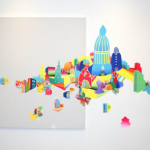 Untitled, 2009, acrylic on canvas and wall, 150x300 cm