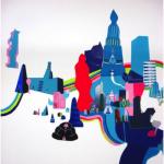 """Pontos de Encontro"" installatio view, 2009, ECCO Brasilia, adhesive vinyl on paper and wall"