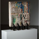 "Object ""Tablete ou Tablat"", 2013, pressed newspaper, nail and iron (sculpture), 90x15x70cm"