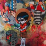 A Chegada de Pedro, o Grande, 2011,  spray paint, oil and colage on plywood, 220 x 160 cm