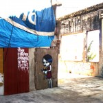 Meu Lar, 2009, graffiti in shack on the roof of Moinho Santo Antonio, site specific