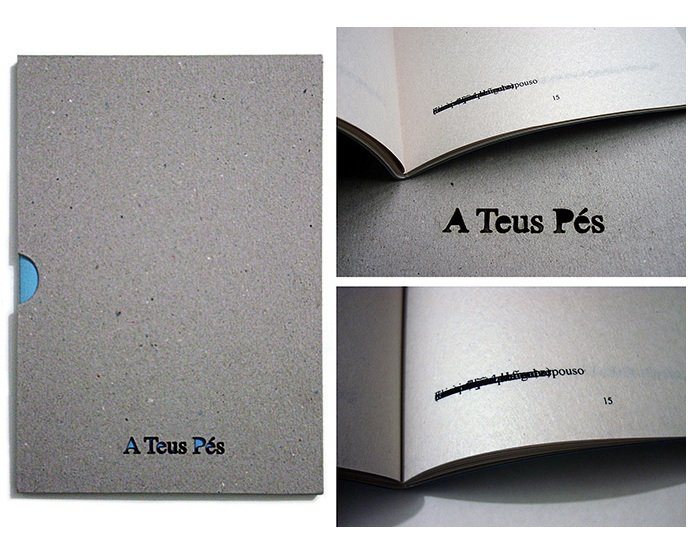 """""""A Teus Pés"""" [""""On Your Feet""""], 2012, artist's book made with screen printing on newsprint, color plus paper, and laser cut paper holler, 21,5 x15x1 cm, edition of 30 copies and 06 A.P."""