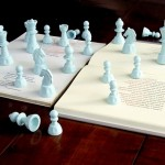 """Blanco"", 2007, chess books on plastic, 45x45 cm"