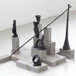 O Jogo dos 7 Bobos [Game of 7 Fools] 2014, bronze and concrete bricks Edition: unique in a series of 3, 79 x 80 x 74 cm