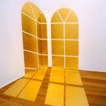 """Morning Light Windows"", 2007, gold leaf on wall and floor, variable dimensions"