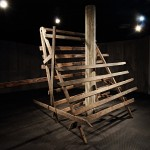 """Heritage site"", sculpture, demolition wood, variable dimensions, exhibition view, Massangana Gallery, Joaquim Nabuco Foundation, Recife, Brazil, 2014, photo Francisco Baccaro"