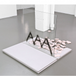 """AAA AAA AAA"", 2014, spray over glass and plywood (precast concrete boards basis), 90×90×20 cm (aprox.)"