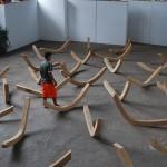 """Banzeiro"", 2010, wood sculptures, Marabá Art Center, PA, variable dimensions"