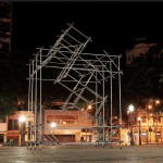 Untitled, view of the monumental exhibition ''Toque Devagar'' at Praça Tiradentes, Rio de Janeiro, Brazil,  galvanized steel pipe and mounting clamps, variable dimensions, 2012. Credits: Quito