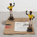 """CA - criado mudo"", 2013, bronze sculptures, cardboard and paper. Edition: N/A, 51 x 34 x 24 cm"