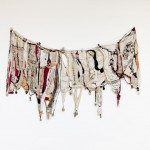 ''Memória'', stitching, knots, different fabrics, laces and fragments, 140 x 270 cm