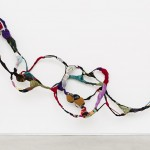 Untitled, from Torção series, sewing, moorings, different fabrics on wire, 430 x 120 x 50 cm