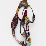Untitled, from Torção series, sewing, moorings, different fabrics on wire, 133 x 68 x 27 cm