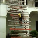 """""""Alcance"""", 2007, wood craft, 750x300cm, Museu do Estado do Pará, Belém, PA"""