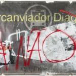 """Diagonal II"", 2013, mixed technique on banner, 158 x 344 cm"