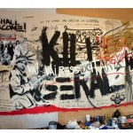 """Mega trevas, kill geral"", 2009, mixed technique on canvas, 212x500 cm, Gilberto Chateaubriand - Rio de Janeiro's Museum of Modern Art Collection"