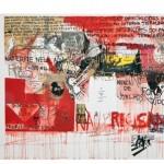 """Untitled, from the series """"Não há instruções exatas para a localização do paraíso"""", 2010, mixed technique on canvas, 212x500cm"""
