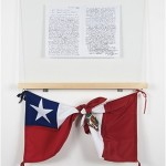"""""""To the Peruvian People"""", 2014, fotocopies, glass, wood, flags, 1,28x72x6,5 cm"""