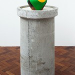 ''Acculturation is (not) Integration I'', 2015  Pottery vase, graphic interventions, playwood and concrete, variable dimensions.