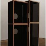 """Oco Soundsystem"", 2013, sculpture, wood and lycra, 2,10x1,25 m"