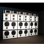 """""""DubRoom"""", 2012, sound installation, baile funk speakers, Gilberto Gil song, software by the artist, automated light works, variable dimensions"""
