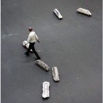 """""""Gelo Baiano"""", 2010, installation, set of concrete prisms retrieved from the streets and silicon wheels with rotation of 360 º, variable dimensions"""
