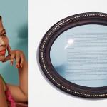 """Meiriele"", from the series ""Fábula do olhar"", 2013, digital photopainting printed on cotton paper, framed text, audio installation, 120x90cm (photopainting), 40x50.5x5cm (framed text), made in collaboration with the photopainter Mestre Júlio Santos"