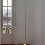 """For the ghosts with insomnia"", 2013, plaque, candle, lamp, cable, variable dimensions"