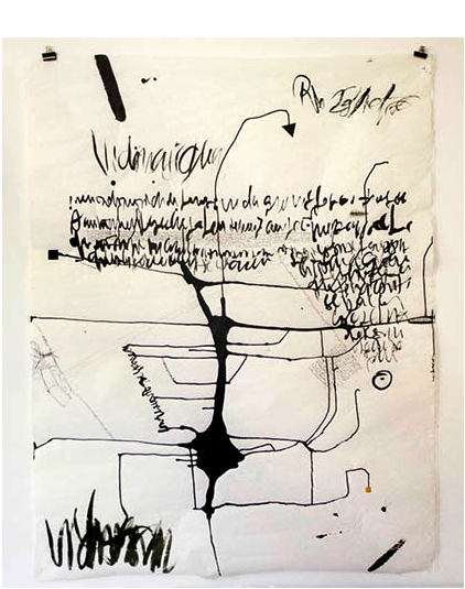 """""""Cartobiographies"""", 2014, indian ink and collage on cloth paper, 140x110cm"""