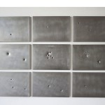 """""""Still Life or Study for Vanishing Point"""", 2011, steel with bullets holes:35mm, 38 super, 40mm, 22mm, 4.5,  caliber 12.42, 12SG, caliber 12.50 AE, 1.6x2.5m"""