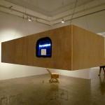 """Tudo se Deita"", 2014, installation, wood, steel cables, LED lighting and plush"