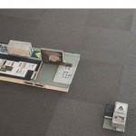 """""""Natureza política de um espaço construído I"""", 2015, acrylic on wood, book, book pages, iron bar, concrete brick, 160x74 cm"""