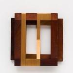 """""""Rhythm for 2"""", 2013, Lurex thread on wooden frame 22 x 22 x 5 cm"""