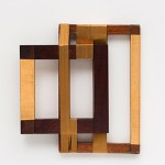 """""""Rhythm for 2"""", 2013, Lurex thread on wooden frame 26,5 x 24 x 5 cm"""