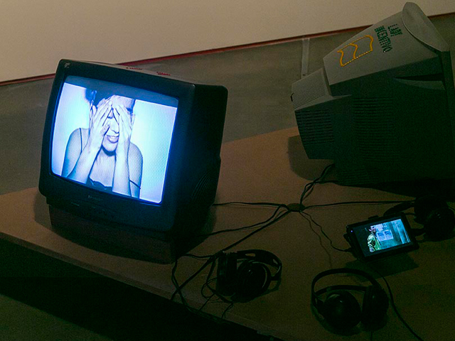 "Fabiana Faleiros - ""Lady Incentivo Trilogy: Masturbate, I'm awesome, and Tigress"", video-installation, digital video, tube TV's, GPS, variable dimensions, 2014"