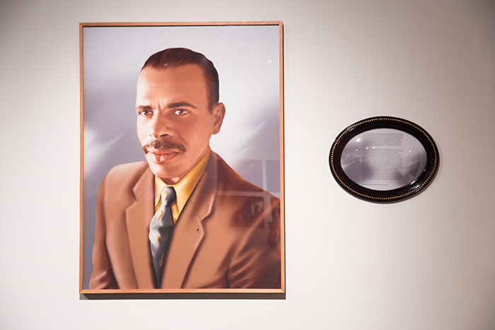 """""""Alexandre"""" from Fábula do Olhar series, 2012-2013, photopainting, framed text and audio, ed 5+2AP, 120 x 90 cm, made in collaboration with Julio Santos."""