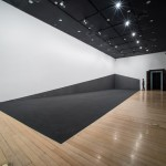 """Colapso de Onda"" [Wave Collapse], 2015 . graphite powder on wall  and floor, site specific, room 142 m2 . Centro Cultural do Banco do Brasil - CCBB,  RJ, Brazil"
