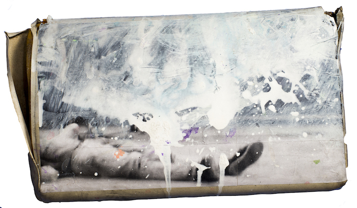 """""""Ueinzz Mix. # 100 (john)"""", 2015, acrylic and collage on pillow. 48 x 28 cm"""