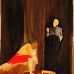 """Manzoni e o Dobrador"", from the series ""Retratos sobre base mágica"", 2014,  painting, watercolour on Montval paper,  42 x 29,7 cm, private collection"