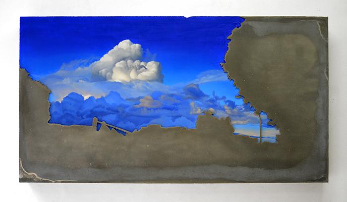 'Untitle', 2015, oil paintaing on concrete plaque, 70 x 130 x 15 cm