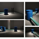 'Antérieur', 2015, sound sculpture | 3 plastic gallons connected with PVC pipes, underwater speaker, amplifiers, hydrophone, USB with soundtrack