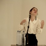 'Conference or how to avoid a deluge', performance, 2011 I drink around 20 liters of water while giving a conference. The speech goes on until I am unable to utter a resonate sentence.